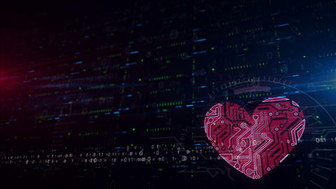 Cyber heart symbol lower thirds background Animation