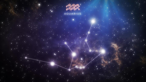 Zodiac constellation of AQUARIUS 4k Animation