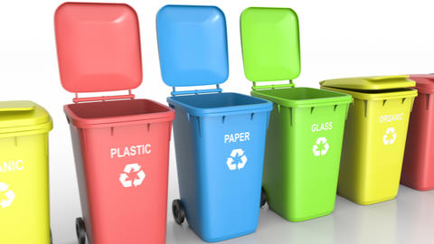Plastic waste bins with flaps open and close and waste type labels white floor Animation