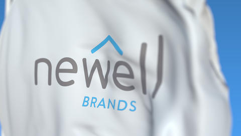 Waving flag with Newell Brands logo, close-up. Editorial loopable 3D animation Live Action
