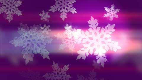 Bright white winter snowflakes on pink and violet Animation