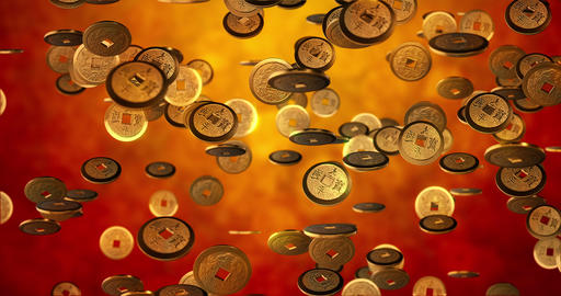 Chinese new year background, Golden coins 3d texture. 3D…, Stock Animation
