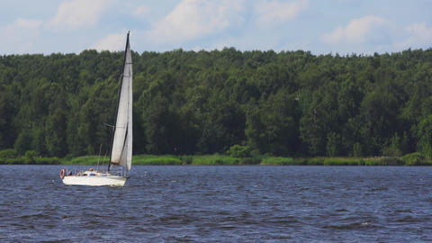 Sailing boat on the lake Live Action