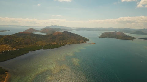 Aerial view tropical lagoon,sea, beach. Tropical island. Busuanga, Palawan Live Action