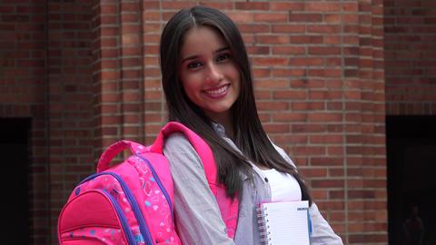 Happy Teenage Female Student Footage