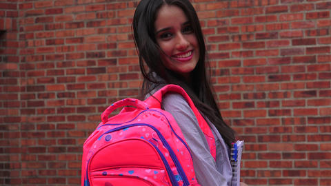 Pretty Female Teenage High School Student Footage