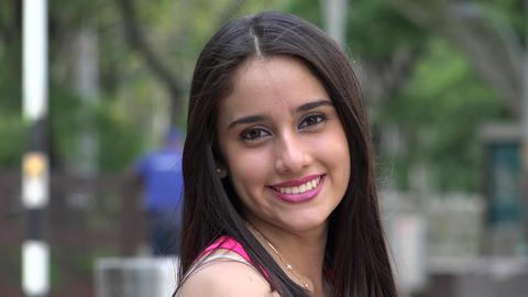 Hispanic Teenage Girl Smiling Footage