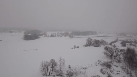 Winter landscape with forest, field, river.Winter landscape Footage