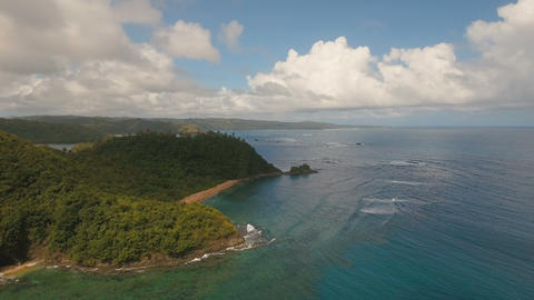 Aerial view tropical lagoon,sea, beach. Tropical island. Catanduanes Live Action