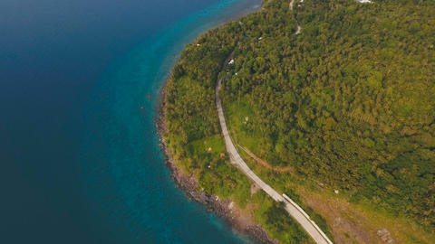 Aerial view beautiful coastline on the tropical island. Camiguin island Live Action