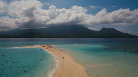 Aerial view beautiful beach on tropical island. Camiguin island Philippines Live Action
