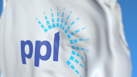 Waving flag with PPL Corporation logo, close-up. Editorial loopable 3D animation Live Action