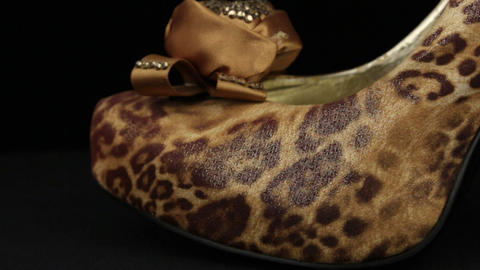 Close-up. Panorama from toe to heel of leopard women's high-heeled shoes Footage