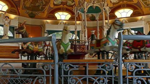 Antique Carousel in Budapest Hungary Carrousel Horse Horses Chariot Footage