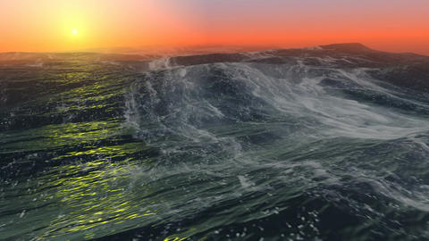 05 Animated background of Sea at sunset CG動画