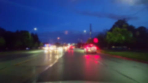 Driving City Street at Night While Raining With Blur... Stock Video Footage