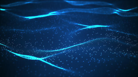 Technology binary data wave background concept. Beautiful motion waving dots texture with glowing Animation