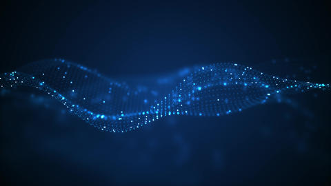 Technology digital wave background concept.Beautiful motion waving dots texture with glowing Animation