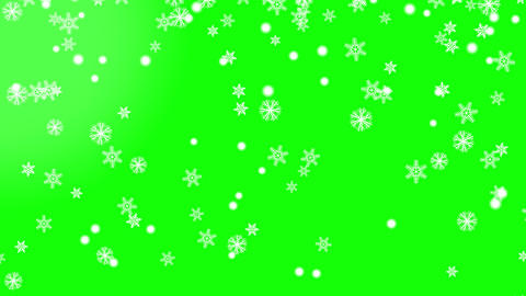 Snow flakes with subtle bokeh animated on green background Animation