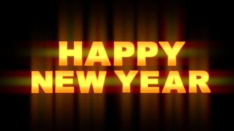 Happy New year blinking and flickering on black background Animation
