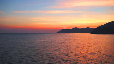 Beautiful sunset and rocky coast,Cinque Terre National Park,Liguria,Italy,Europe Live Action