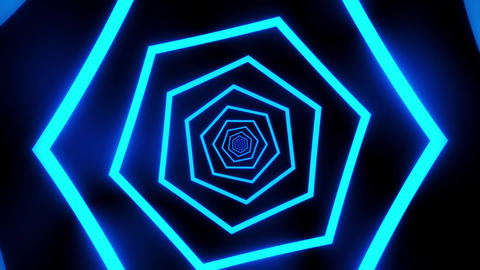 Blue Hexagons Tunnel VJ Loop Motion Graphic Background Animation