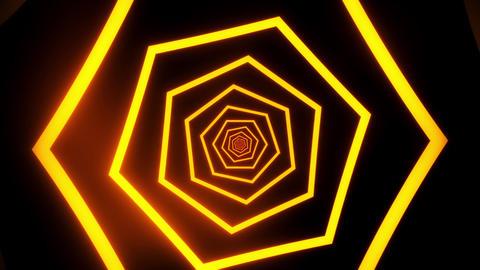 Orange Hexagons Tunnel VJ Loop Motion Graphic Background Animation