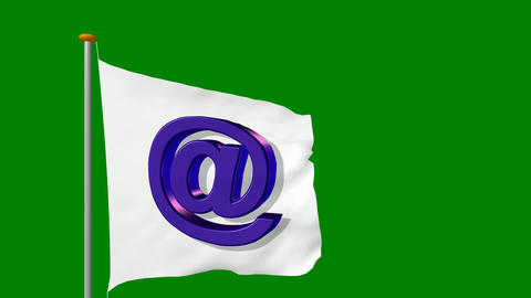 127 Internet e-mail symbol on white flag with green screen Animation