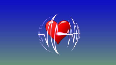 124 HEALTH and MEDICINE cardiogram of beating heart Animation