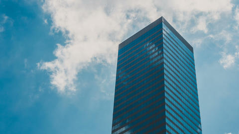Corporate Buildings, Blue Sky And Clouds Timelapse Footage