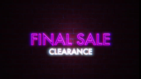 Final sale clearance Neon purple and white Light on Brick Wall. Sale Banner Blinking Neon Sign Style Animation