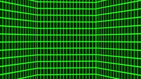 Green retro-futuristic 80s synthwave grid background Animation