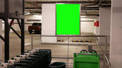 Motion of green billboard at parking trolley section inside price smart foods parking lot with 4k Footage