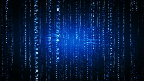 The Matrix style binary code. The camera moves through falling numbers and Japanese characters. Videos animados