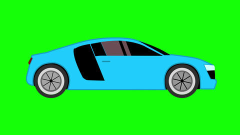 Blue sport car flat style animation on green screen background Animation