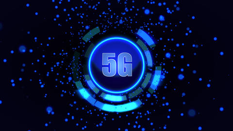 Digital animation 5G logo against rotating abstract blue background Animation
