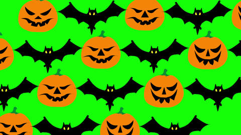 Halloween flat style cartoon pumpkins and bats. Group of pumpkins and bats wriggling slowing on Animation