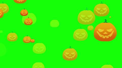 Halloween flat style cartoon pumpkins flying in space Animation