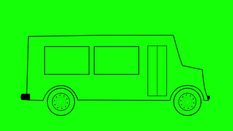 School bus wireframe looped animation, back to school concept CG動画