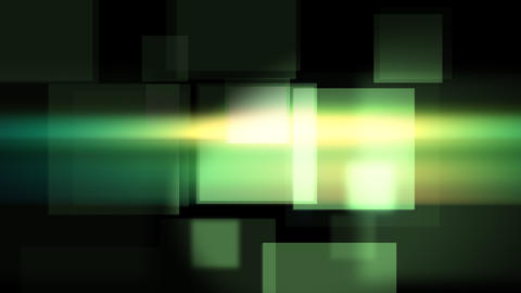 Glittering green squares flying objects Animation