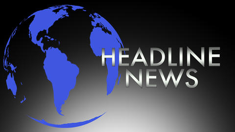 Headline News intro sequence with spinning globe Animation