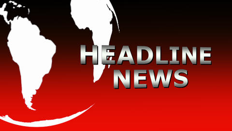 Headline News intro sequence in red with spinning globe Animation