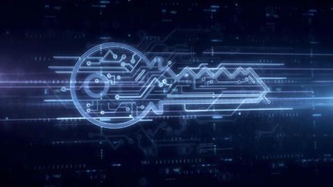 Cyber key symbol hologram Animation