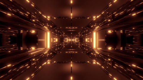dark space sci-fi tunnel corridor with futuritic reflection 3d rendering Animation