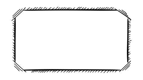 Isolated on alpha hand-drawn rectangular frame Animation