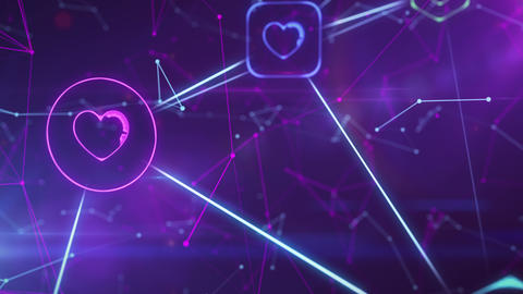 Hearts - likes and social networks Footage