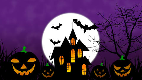 Happy Halloween colourful theme animation background, with scary moving tree and hovering bats on Animation