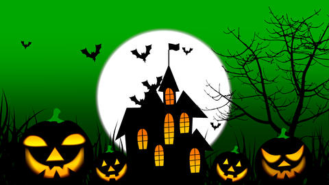 Spooky Halloween colourful theme animation background, with scary moving tree and hovering bats on Animation