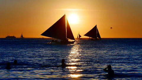 Sailboats at dusk Footage