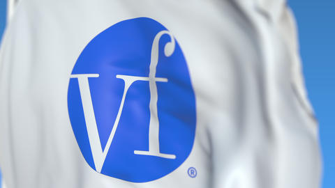 Waving flag with VF Corporation logo, close-up. Editorial loopable 3D animation Live Action